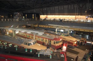 Some of the trains on display on the museum floor